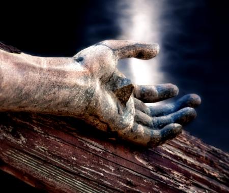 Jezus: Jezus na krzyżu z niebieskiego nieba nad