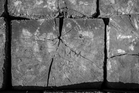 creosote: Engraved Railroad Tie Macro in Black and White Stock Photo