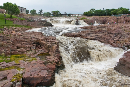 sioux: Raging Water of the Big Sioux River at Falls Park