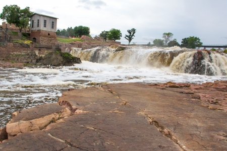 Raging Water of the Big Sioux River at Falls Park Stock Photo - 16256745