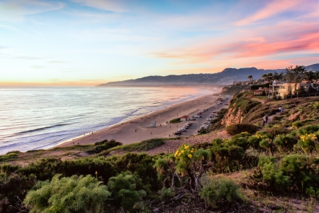 california beach: Sunset Over Santa Monica Bay Stock Photo