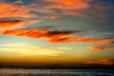 zuma: Sunset Over Santa Monica Bay Stock Photo