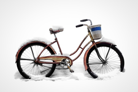 An Old Bicycle is Parked in Heavy Snow Stock Photo - 16486086