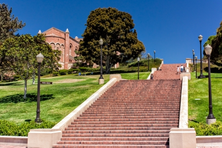 college campus: LOS ANGELES, CA - AUG 21,2010 - Janss Steps on the campus of University of California, Los Angeles (UCLA) were named after the Janss brothers, who sold the land to UCLA, these 87-steps were once the main entrance to UCLA. Editorial