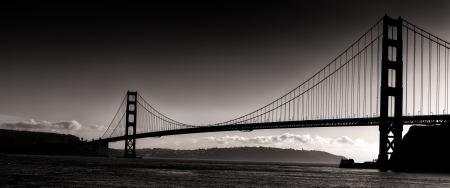 Sunset Silhouette  Panoramic View of the Golden Gate Bridge.