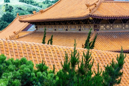 humanistic: HACIENDA HEIGHTS, CAUSA - April 23: Ornately tiled traditional tiled roof at Hsi Lai Temple, the largest traditional Chinese Buddhist monastery in the United States. April 23, 2011. Stock Photo