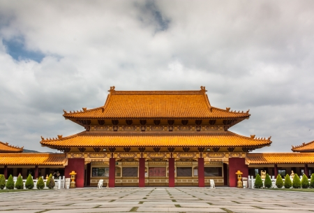 humanistic: HACIENDA HEIGHTS, CAUSA - April 23: Main Hall of Hsi Lai Temple, the largest traditional Chinese Buddhist monastery in the United States. April 23, 2011.