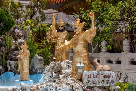 humanistic: The Arhat Garden at Hsi Lai Temple at Hsi Lai Temple, the largest traditional Chinese Buddhist monastery in the United States.  Stock Photo