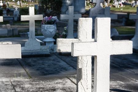carlos: Grave Markers at San Carlos Cemetery. Stock Photo