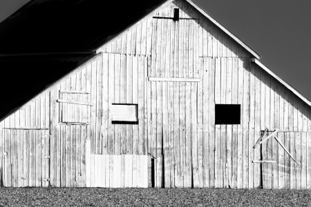 barn black and white: Side of American Barn in Black and White