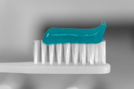 White Toothbrush with Tooth Paste Macro Stock Photo