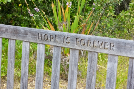 hope: Outdoor Bench With Message of Hope Stock Photo