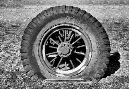 tire tread: Sunken Military Tire in Black and White