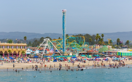 SANTA CRUZ, CAUSA - June 30: Founded in 1907 and the oldest amusement park in California, The Santa Cruz Beach Boardwalk is an historic oceanfront public venue in Santa Cruz, California. June 30, 2013