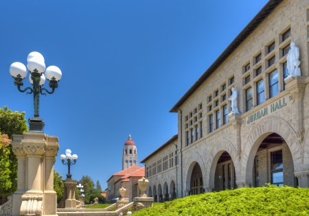 hallowed: STANFORD, UNITED STATES - July 6: To the backdrop of Hoover Tower, historic Jordan Hall on the campus of Stanford University. July 6, 2013. Editorial