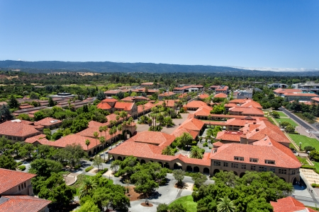 hallowed: STANFORD, UNITED STATES - July 6: Overhead view of the main quadrant of buildings at historic Standford University. July 6, 2013.
