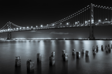 The San Francisco Bay Bridge at Night in Black and White photo