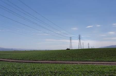 High Tension Electrical Wires over Farm Land in Salinas Valley, California photo