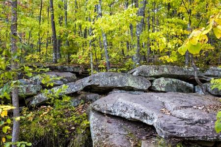 bedrock: Glacial Rock Formation at Banning State Park, Minnesota. Stock Photo