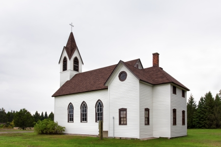american midwest: Rural White Church in the American Midwest Countryside Stock Photo