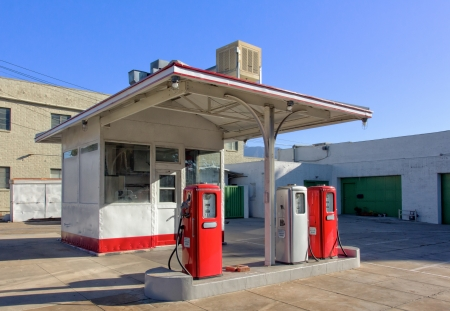 Empty Urban Vintage Gasoline Station in the United States photo