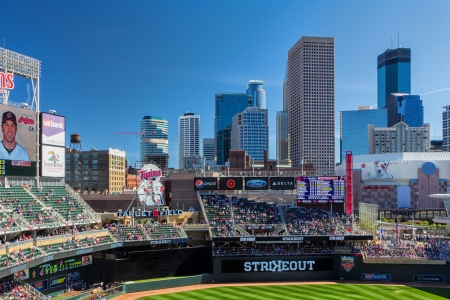 MINNEAPOLIS, MNUSA - September 29: Target Field, home of the Minnesota Twins Major League Baseball team.  Target Field is site of the 2014 Major League All Star Game.  September 29, 2014.