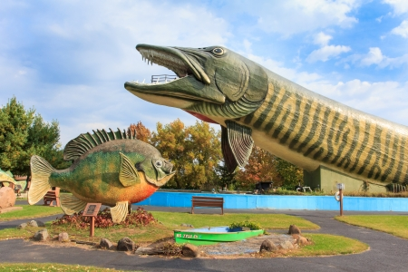HAYWARD, WIUSA - SEPTEMBER 28:  The National Freshwater Fishing Hall of Fame is a non-profit museum statues of American freshwater fish. September 28, 2013.