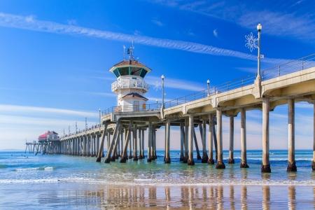 De Huntington Beach Pier in Huntington Beach, Californië. Stockfoto
