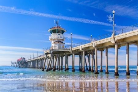 The Huntington Beach Pier in Huntington Beach, California.