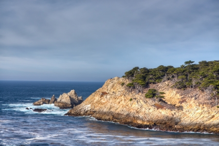 Destination Scenic of Cyprus Cove at Point Lobos Park in Carmel, California. Imagens