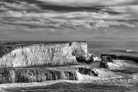 Waves Crashing Ashore at Wilder State Beach in Black and White near Santa Cruz, California photo