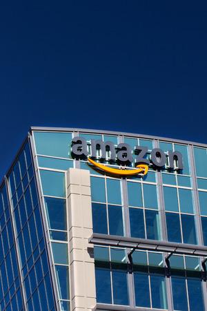 amazon com: SANTA CLARA,CAUSA - FEBRUARY 1, 2014: Amazon building in Santa Clara, California.  Amazon is an American international electronic commerce company. It is the worlds largest online retailer.