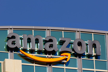 amazon: SANTA CLARA,CAUSA - FEBRUARY 1, 2014: Amazon building in Santa Clara, California.  Amazon is an American international electronic commerce company. It is the worlds largest online retailer.