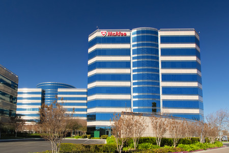 SANTA CLARA,CAUSA - FEBRUARY 1, 2014:  McAfee corporate headquarters building in Santa Clara, California.  McAfee is an American global computer security software company and the worlds largest dedicated security technology company.