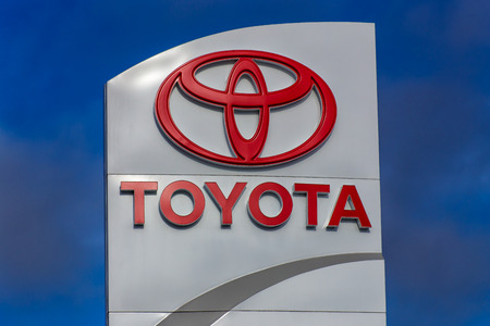 MONTEREY, CAUSA - FEBRUARY 13, 2014: Toyota automobile dealership sign. Toyota is a multi-national Japanese automotive manufacturer.