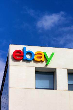 SAN JOSE, CAUSA - MARCH 1, 2014:  Ebay Corporate Headquarters Sign. eBay Inc. is an American multinational internet consumer-to-consumer corporation, headquartered in San Jose, California.