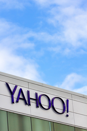 SUNNYVALE, CAUSA - MARCH 1, 2014:  Yahoo Corporate Headquarters Sign. Yahoo is an American multinational Internet corporation globally known for its Web portal, search engine Yahoo Search, and related services