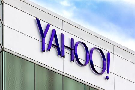 カリフォルニア州サニーベール、カリフォルニア州アメリカ - 2014 年 3 月 1 日: ヤフー企業本部記号。Yahoo は、同社の Web ポータルのグローバルに 報道画像