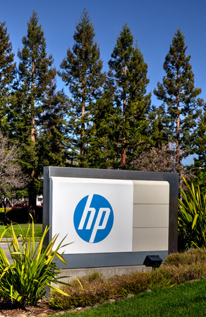 PALO ALTO, CAUSA - MARCH 16, 2014: Hewlett-Packard corporate headquarters in Silicon Valley. HP is an American multinational information technology corporation that provides hardware, software and services to consumers, businesses and government.