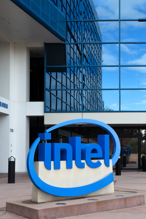 processors: SANTA CLARA, CAUSA - MARCH 1, 2014:  Intel Sign at Corporate Headquarters. Intel is a multinational corporation and inventor of the x86 microprocessor, the processors found in most personal computers.