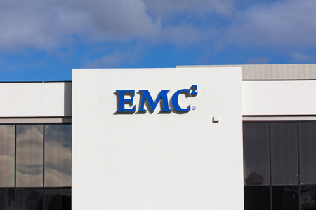 SANTA CLARA, CAUSA - MARCH 1, 2014:  EMC facility in Silicon Valley. EMC makes data storage, information security, virtualization, analytics, cloud computing and other products.
