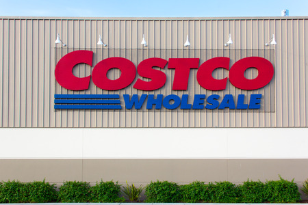 retailer: SAND CITY, CAUSA - APRIL 23, 2014: Costco Wholesale store exterior. Costco Wholesale Corporation is a membership-only store and  second largest retailer in the United States.