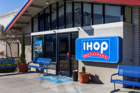 SALINAS, CA/USA - APRIL 23, 2014:  IHOP (International House of Pancakes) Restaurant exterior. IHOP  is a restaurant chain specializing in breakfast foods.