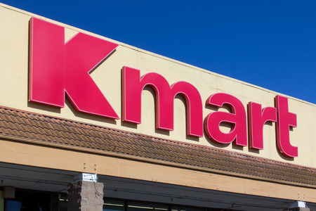 headquartered: SALINAS, CAUSA - APRIL 23, 2014: Kmart retail store exterior. Kmart is an American chain of discount department stores headquartered in the United States.
