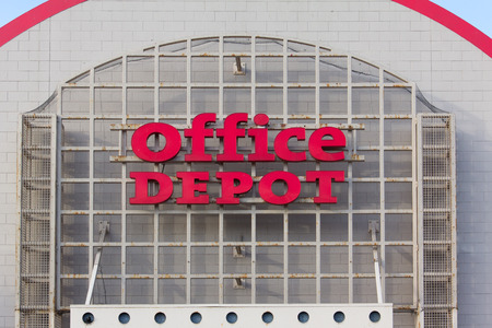 SAND CITY, CAUSA - APRIL 23, 2014: Office Depot store exterior. Office Depot, Inc. is a leading global provider of office related products and services.
