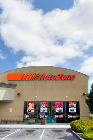 aftermarket: SALINAS, CAUSA - APRIL 27, 2014:  Auto Zone car parts store. AutoZone is the second-largest retailer of aftermarket automotive parts and accessories in the United States.