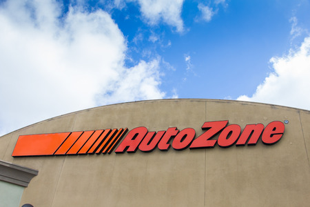 car retailer: SALINAS, CAUSA - APRIL 27, 2014:  Auto Zone car parts store. AutoZone is the second-largest retailer of aftermarket automotive parts and accessories in the United States.