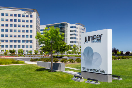 SANTA CLARA, CAUSA - MAY 11, 2014:  Juniper Networks Campus in Silicon Valley. Juniper Networks, Inc. is an American manufacturer of networking equipment. Editorial