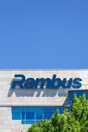litigation: SANTA CLARA, CAUSA - MAY 11, 2014: Rambus Corporate Headquarters building in Silicon Valley. Rambus is an American technology licensing company specializing in intellectual property-based litigation.