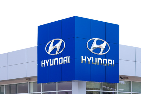 headquartered: SAN JOSE, CAUSA - MAY 24, 2014: Hyundai automobile dealership sign. Hyundai is a South Korean multinational automotive manufacturer headquartered in Seoul, South Korea.
